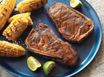 Smoky Grilled Strip Steaks with Mexican Style Corn